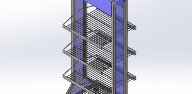two sided wire rack on wheels for retail display