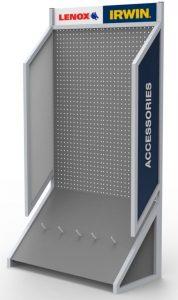logo on branded tool display rack with peg board