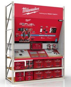 retail display rack with metal powder coat finish and peg board