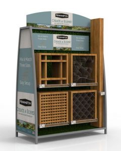 outdoor wood and metal retail pop sales rack painted green with logo and graphics