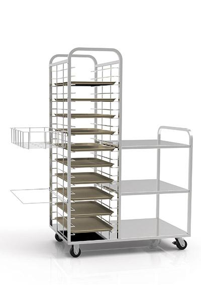 custom food and bakery racks on wheels